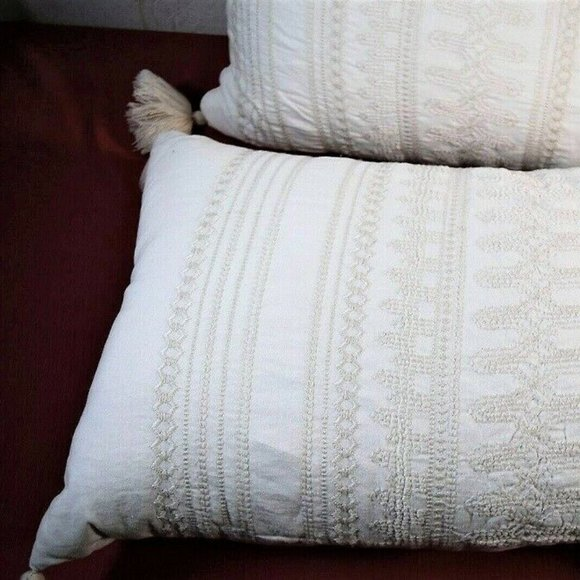 """NWT Embroidered Bolster Throw Pillow 16"""" x 42"""""""